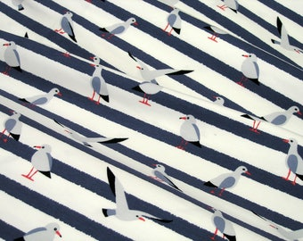 Jersey Little Darling seagulls on white blue striped 0.54yd (0,5m) 003466