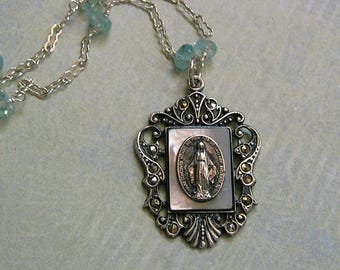 Antique Sterling Silver and Marcasite Virgin Mary Religious Medal Necklace, Old Sterling Religious Medal Necklace, OOAK Necklace (N288)