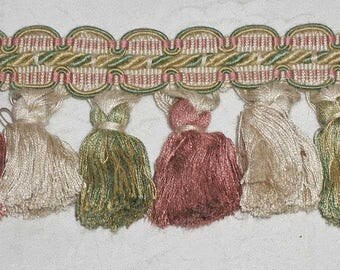 "Luxurious Vintage Pink/Green/Ivory Tassel Fringe Trim Made in Italy Mid 90s - 4 3/8 Yards (4.375 Yards) x 3.75"" Long"