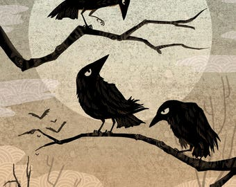 Crow Consternation art mini print 5x7 inch
