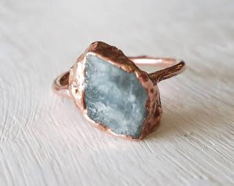 Rough Aquamarine Electroformed Copper Ring Size 6