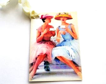 2 Gift Tags, Women in Hats Drinking Tea,  Vintage Look, Party Favor Tags,  Handmade, Merchandise Tags