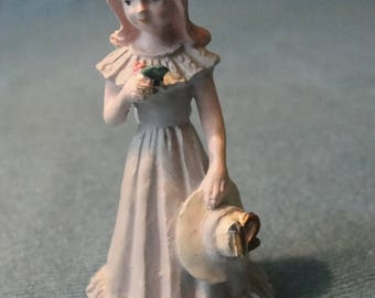 Vintage hard to find Enesco Growing Up Girl birthday figurine Painted pewter 1980s