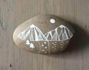 Mountain Landscape - Painted Stone - Beach Pebble, Nature, Rock Art - by Natasha Newton