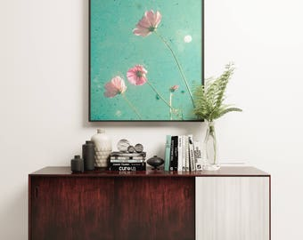 Pink Flower Print, Cosmos Flower Art, Pink and Turquoise Decor, Bedroom Art, Summer, Floral - Meadow