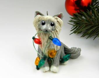 Birman Cat Ragdoll Bluepoint Christmas Ornament Figurine Lights Porcelain