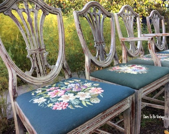 vintage shield back dining chairs vintage needlepoint chairs shabby chic dining chairs vintage