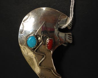 Sterling Healing Bear Pin with Coral and Turquoise