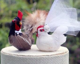 Barnyard Chicken Wedding Cake Topper: Farm Fancy Bride & Groom Love Bird Cake Topper