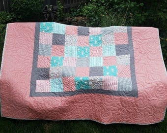 Custom Queen or Full Size Quilt, Comforter, Your choice of fabric and Design