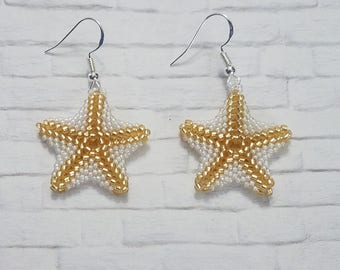 Starfish Earrings, Beaded Earrings, Beach Jewelry, Statement Earrings, Drop Earrings, Wedding Jewelry, Beach Wedding, Gifts For Her, Gold