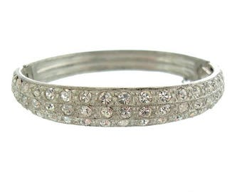 Art Deco Bangle Bracelet, Vintage Rhinestone Book Piece, 1920s Antique Wedding Jewelry, Fine Vintage Rhinestone Jewelry, Rhinestone Bangle