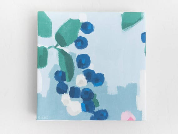 Abstract Blueberries - Stretched Canvas Print