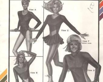 Stretch & Sew 304 1980s  Misses Leotards Skating Dress Biker Gear Pattern Race Helmet Cover Womens Vintage Sewing Pattern Bust 30 - 46 UNCUT