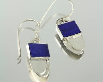 Modern Drop Dangle Earrings with Square Lapis Cabochon