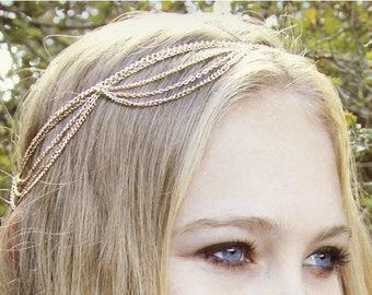 SUMMER SALE CHAIN Headpiece-  chain headdress bohemian head chain chain headpiece- original designer / boho chic