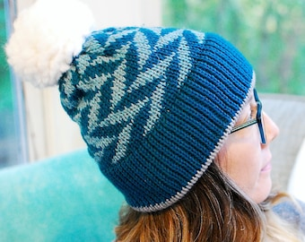 Machine Knit Fair Isle Hat // Winter Accessory // Soft and Squishy // Wool+Cotton // Arrow Pattern