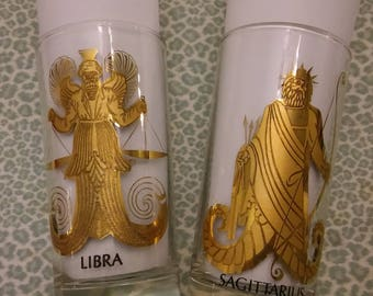 1 ZODIAC GLASS, 1960s Astrology Glassware,Libra Astrology Glass,Sagittarius Astrology Glass,Servingware,RetroBarware
