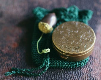 Q Solid Natural Perfume in Round Brass Compact with Crochet Pouch - California Oak - Celtic Pagan Tree Ogham - Luxury for the Naturalist