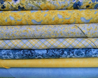 Walking on Sunshine Cotton Fabric In Blue and Yellow by Wilmington Prints