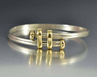 Vintage Gold Slider Charms Bracelet | Sterling Silver Gold Bracelet | Bypass Bracelet | Modernist Bracelet | Vintage Silver Bangle Bracelet