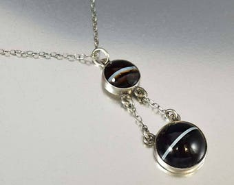 Antique Victorian Banded Agate Necklace | Scottish Agate Sterling Silver Antique Necklace | Scottish Jewelry | Agate Pendant Drop Necklace