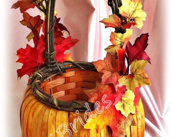 Fall weddings, Fall leaves flower girl basket.