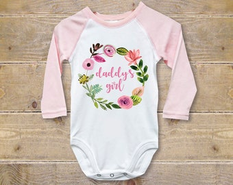 Daddy's Girl, Daddy Onesie, Daddy Shirt, Father's Day Gift, New Dad, Daddy's Little Girl, Baby Shower Gift, Baseball Tee, Pink, Cotton