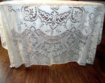 Vintage Quaker Lace Tablecloth or Lace Overlay 70 X 90 Inches  New Old Stock Creamy Original Box Lace Netting SVFT ECS
