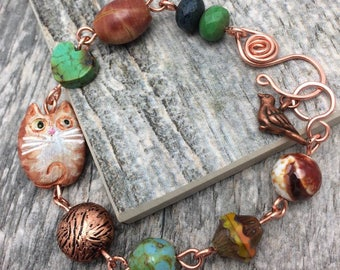 Tabby Cat with Bird Gemstone Bracelet, Free Shipping, Cat Lover, Birthday, Anniversary Gift, Copper, Turquoise Heart