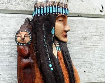 Native Princess, Three dimensional art, OOAK, painted driftwood, beach art, papoose, sculpture