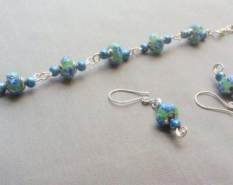Handmade Blue,Green and Clear Lampwork beaded chunky  bracelet