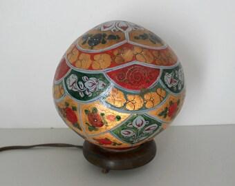 Folk Art Globe Lamp, Hippie Flower Handmade Painted Light with Wood Base