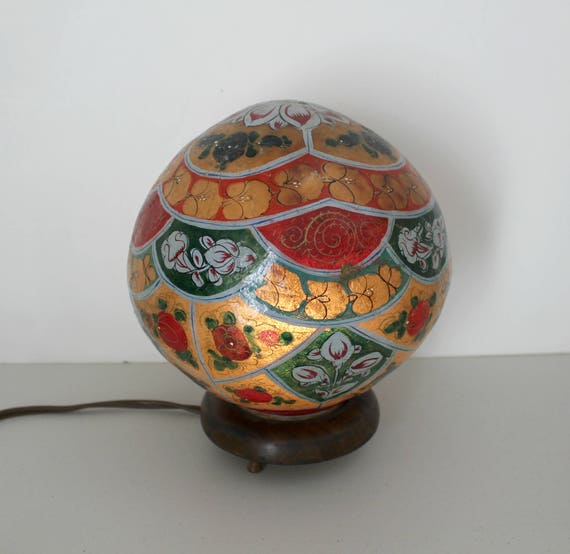 Vintage Folk Art Globe Lamp, Hippie Flower Handmade Painted Light with Wood Base