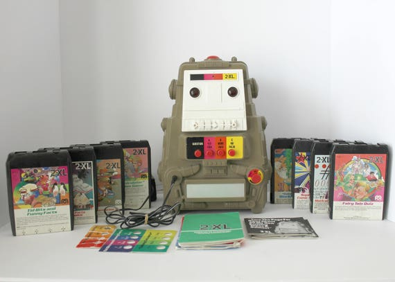 Vintage 2-XL 2XL Robot Toy Talking Question Answer Guiz Game w/ 8 Track Tapes