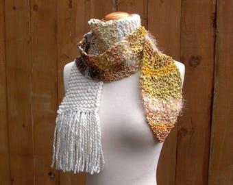 savanna. handknit scarf . knit ribbon art yarn bohemian scarf . yellow honey mustard gold amber ochre saffron cream wheat