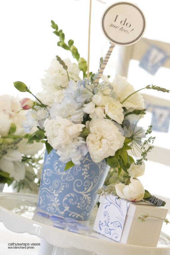 Polka dot stripe damask flower vases pots