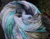 Reserved for Patricia Handpainted sock yarn, fingering yarn, superwash Merino sparkle 100 grams-Lothlorien