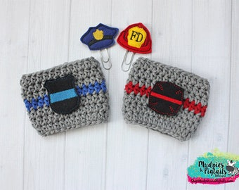 Coffee Cup Cozy { Fire or Police Dept }  Firemen, Police Officer, badge, reuseable cup sleeve, Coffee mug sweater