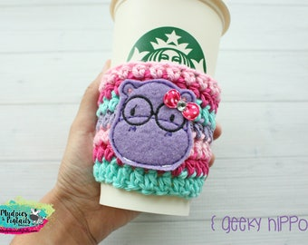 Crochet cup cozy { Geeky Hippo } nerd glasses, pink aqua, zoo gift, teacher gift, knit mug sweater, animal lover, coffee cup sleeve