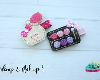 Girly Diva Hair Clippie  { wakeup & Makeup }  eyeshadow palette, mommy daughter Hair Clip, Barette, Holiday Hair Bow No Slip