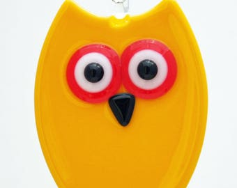 Glassworks Northwest - Yellow Owl - Fused Glass Ornament