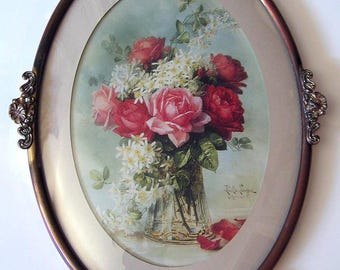Roses, Print, Paul de Longpre, Filigree, Antique Frame, Convex Glass, Art, Print, Shabby Chic, Vintage, Half Yard Long