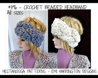 Crochet PATTERN, Braided HEADBAND, Crochet FLOWER, make any size, #1196, crochet for baby, kids, children, preteen, teen, adult