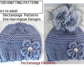 KNITTING PATTERN - HAT, Knit hat for girls, teens, and women, Quick one hour project.  Knit flower included, #2100