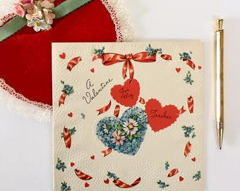 Lovely Vintage 1940s Valentine Card with Hearts and Flowers, Hearts, Blue Hearts, Embossing, Valentine for Teacher, NOS