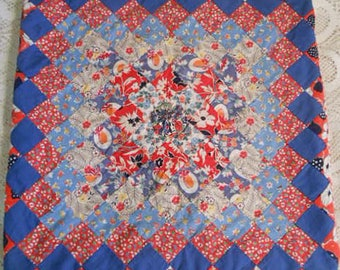 Vibrant FEEDSACK PILLOW COVER Sham Vintage Trip Around The World Pattern Intense Blues Reds Ferns Straw Hat Prints, Newly Made Bungalow 18""