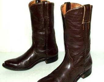 Vintage Western Rockabilly Brown Cowboy Boots mens size 8 D / womens 9.5 shoes