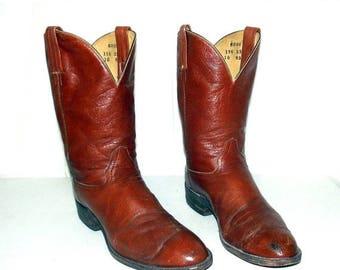 Vintage Brown Leather Hondo Cowboy Boots - mens size 11 D