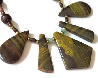 Tiger Iron Necklace, Gemstone Cleopatra Bib, Fan, Handmade Jewelry, OAK, Stone Collar, Aventurine, Unakite Jasper